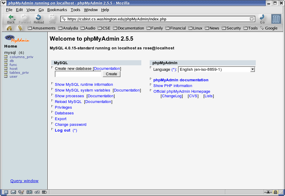 Using phpMyAdmin on Cubist to Administer MySQL